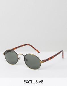 Круглые солнцезащитные очки в золотистой/черепаховой оправе Reclaimed Vintage - Золотой