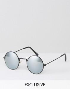 Круглые солнцезащитные очки с зеркальными стеклами в черной оправе Reclaimed Vintage - Черный