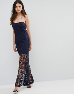 Кружевное платье макси с лифтом бандо Liquorish - Темно-синий
