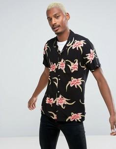 Рубашка классического кроя с цветочным принтом HUF - Черный