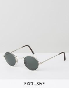 Круглые солнцезащитные очки в серебристой металлической оправе Reclaimed Vintage - Серебряный