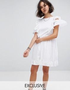 Платье мини с вышивкой и оборками Reclaimed Vintage Inspired - Белый