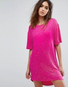 Платье-футболка с принтом Boohoo - Розовый