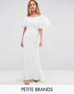 Платье макси с оборками из органзы Jarlo Petite - Белый