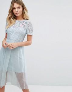 Кружевное короткое приталенное платье с вышивкой New Look - Синий