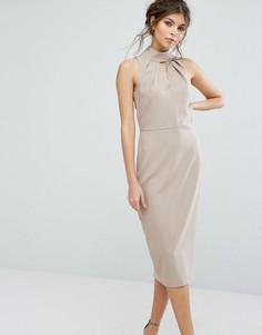 Платье миди с вырезом капелькой Closet - Бежевый
