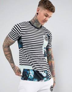 Черная футболка в полоску с цветочным принтом Hype - Белый