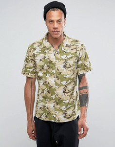 Камуфляжная рубашка с лацканами на воротнике Systvm - Зеленый