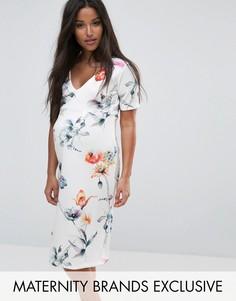 Платье с оборками, запахом и цветочным принтом Bluebelle Maternity - Мульти