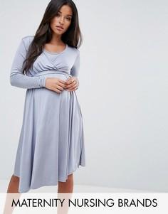 Свободное платье с запахом и поясом Bluebelle Maternity - Серый