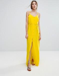 Платье макси с пуговицами New Look - Желтый