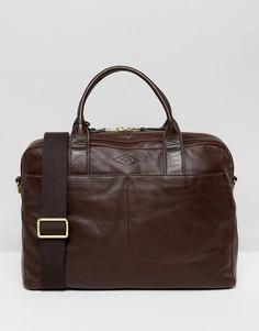 Кожаная сумка для ноутбука Fossil - Коричневый