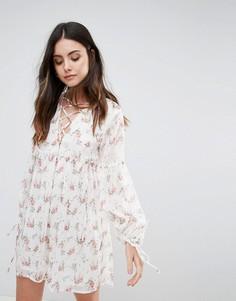 Свободное платье со шнуровкой Influence - Кремовый
