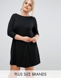 Свободное платье из крепа Club L Plus - Черный