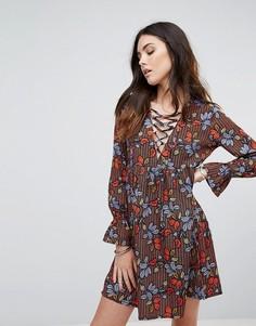 Свободное платье со шнуровкой Influence - Мульти
