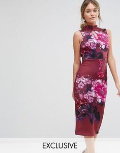 Платье-футляр с воротником в восточном стиле и короткими рукавами True Violet - Мульти