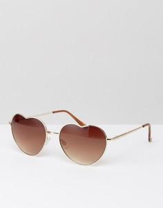 Солнцезащитные очки в металлической оправе с градиентными стеклами в форме сердец South Beach - Золотой