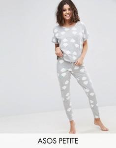 Пижамный комплект с принтом радуги ASOS PETITE - Мульти