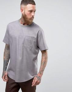 Серая тканая футболка классического кроя с карманом ASOS - Серый