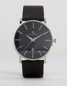 Часы с черным кожаным ремешком Accurist - Черный