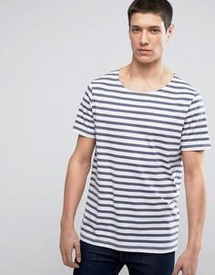 Полосатая футболка премиум с широкой горловиной Jack & Jones - Синий