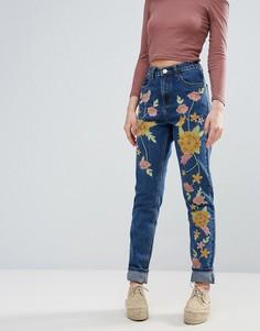 Джинсы с вышивкой Glamorous - Синий