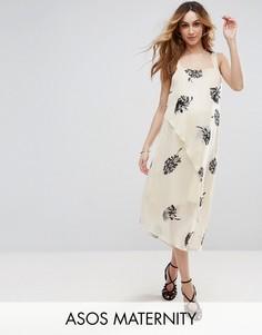 Платье мини с цветочным принтом ASOS Maternity - Мульти