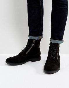 Черные ботинки со шнуровкой и двумя молниями ASOS - Черный