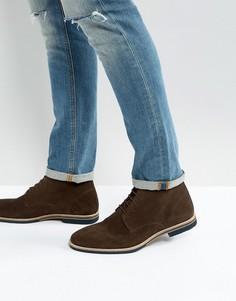 Коричневые замшевые ботинки на шнуровке с контрастной подошвой ASOS - Коричневый