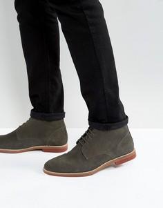 Серые замшевые ботинки на шнуровке с контрастной подошвой ASOS - Серый