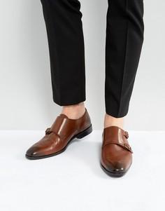 Светло-коричневые кожаные монки с отделкой в стиле брогов ASOS - Рыжий