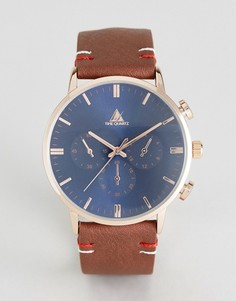 Часы с коричневым ремешком из искусственной кожи и темно-синим циферблатом ASOS - Коричневый