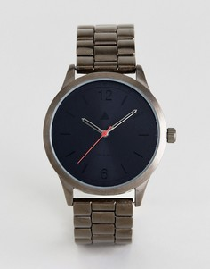 Наручные часы цвета пушечной бронзы с красной стрелкой ASOS - Серебряный