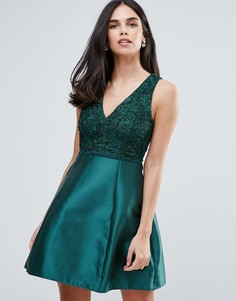 Короткое приталенное платье с декоративной отделкой AX Paris - Зеленый