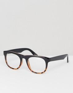 Квадратные очки в черепаховой оправе с прозрачными стеклами ASOS - Коричневый