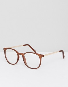 Круглые очки в коричневой матовой оправе с прозрачными стеклами ASOS - Коричневый