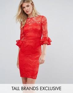 Кружевное платье-футляр с расклешенными рукавами Little Mistress Tall - Красный