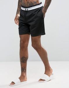 Черные сетчатые шорты для плавания средней длины с полосатым поясом ASOS - Черный