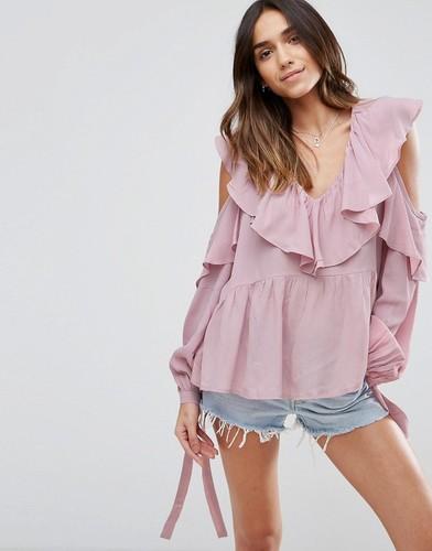 Блузка с открытыми плечами, V-образным вырезом и оборками ASOS - Фиолетовый