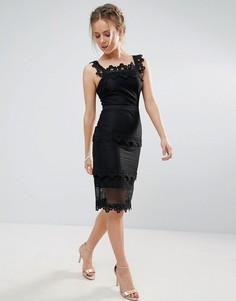Кружевное платье-футляр миди со вставками Endless Rose - Черный