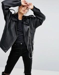 Свободная кожаная байкерская куртка с цепочками ASOS Premium - Черный
