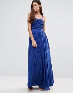 Платье макси с объемной цветочной аппликацией Zibi London - Синий