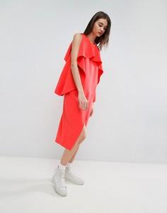 Платье миди с запахом и оборками на вороте ASOS WHITE - Красный