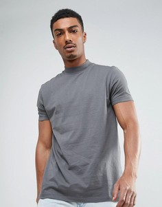 Серая футболка свободного кроя с высоким воротом ASOS - Серый