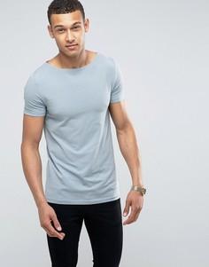 Стретчевая футболка с вырезом лодочкой ASOS - Синий