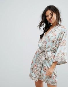 Халат-кимоно с цветочным принтом New Look - Мульти