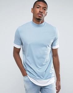 Длинная двухслойная футболка с воротником-стойкой (синий/белый) ASOS - Синий