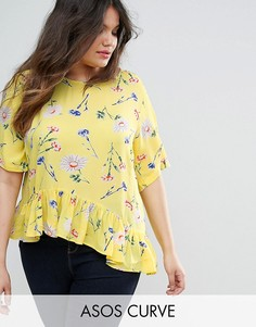Желтая футболка с асимметричным краем и цветочным принтом ASOS CURVE - Мульти