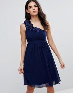 Платье для выпускного на одно плечо с цветочной отделкой Little Mistress - Темно-синий