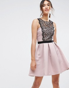 Приталенное платье с кружевной вставкой Little Mistress - Розовый